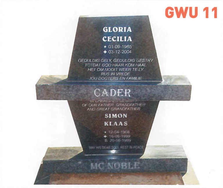 GWU 11 Tombstone   Jeudfra Funeral Services in Upington