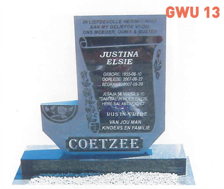 GWU 13 Tombstone   Jeudfra Funeral Services in Upington