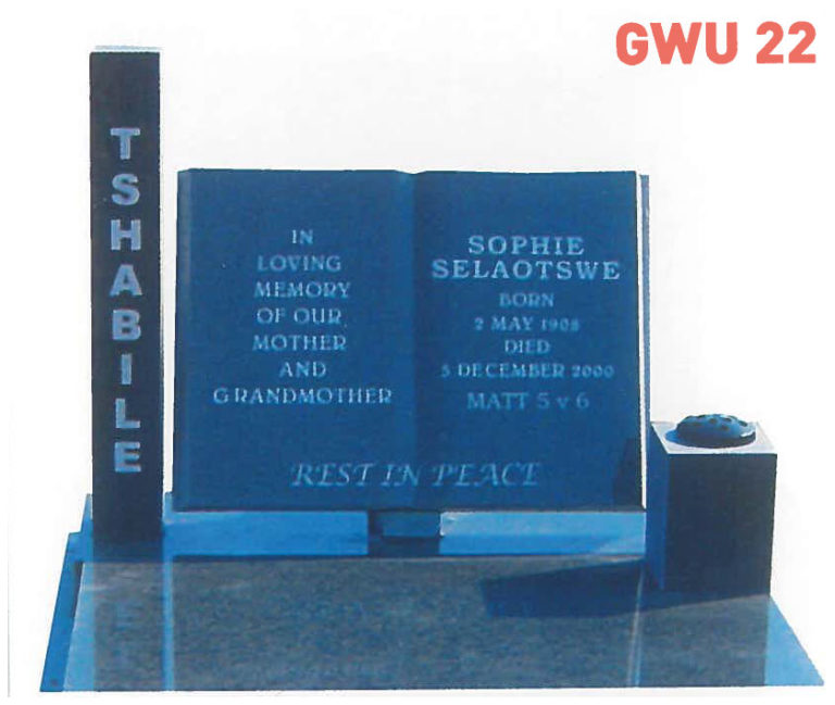 GWU 22 Tombstone   Jeudfra Funeral Services in Upington
