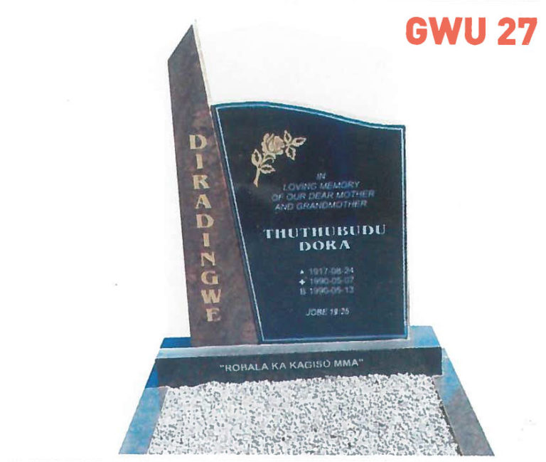 GWU 27 Tombstone   Jeudfra Funeral Services in Upington