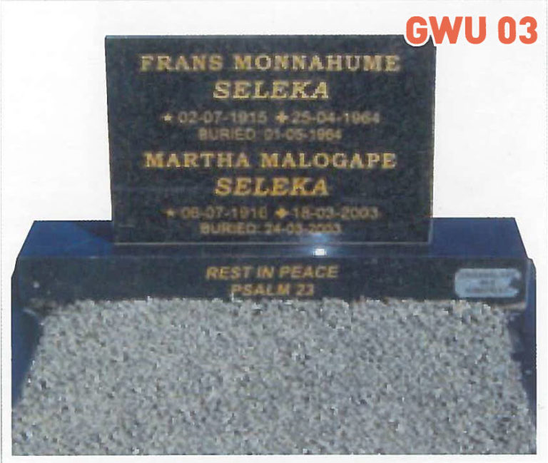 GWU 3 Tombstone   Jeudfra Funeral Services in Upington
