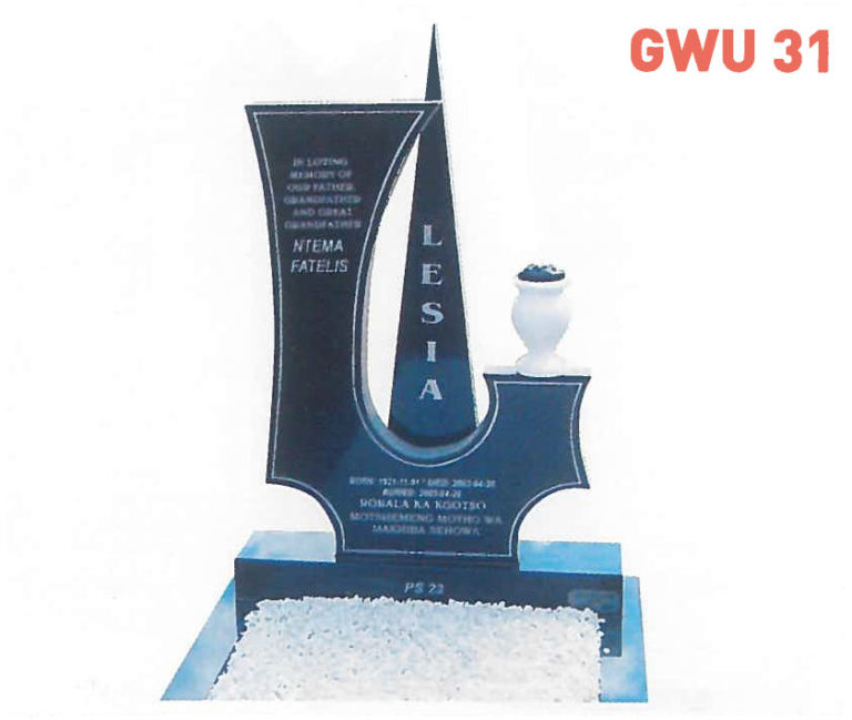 GWU 31 Tombstone   Jeudfra Funeral Services in Upington