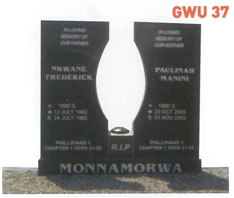 GWU 37 Tombstone   Jeudfra Funeral Services in Upington
