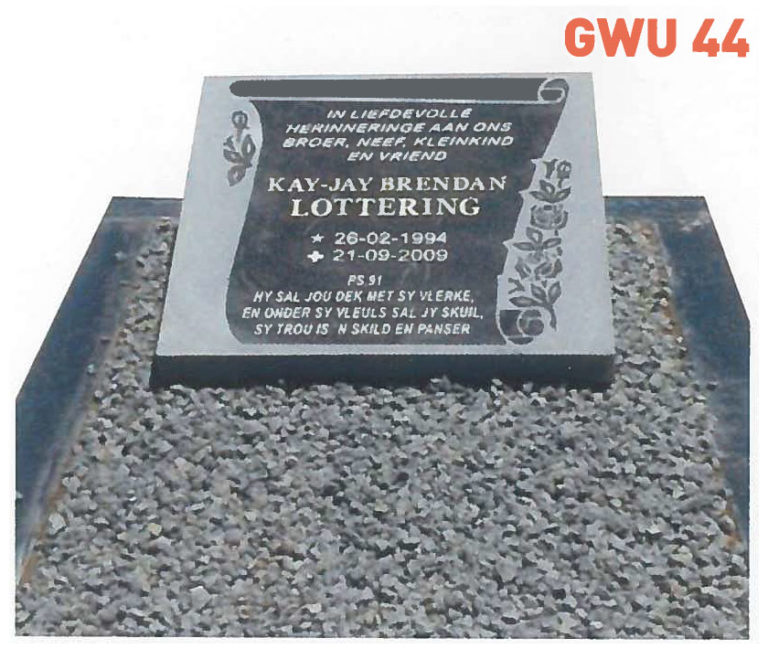 GWU 44 Tombstone   Jeudfra Funeral Services in Upington