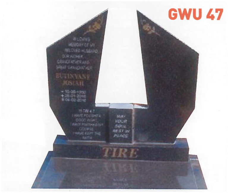 GWU 47 Tombstone   Jeudfra Funeral Services in Upington