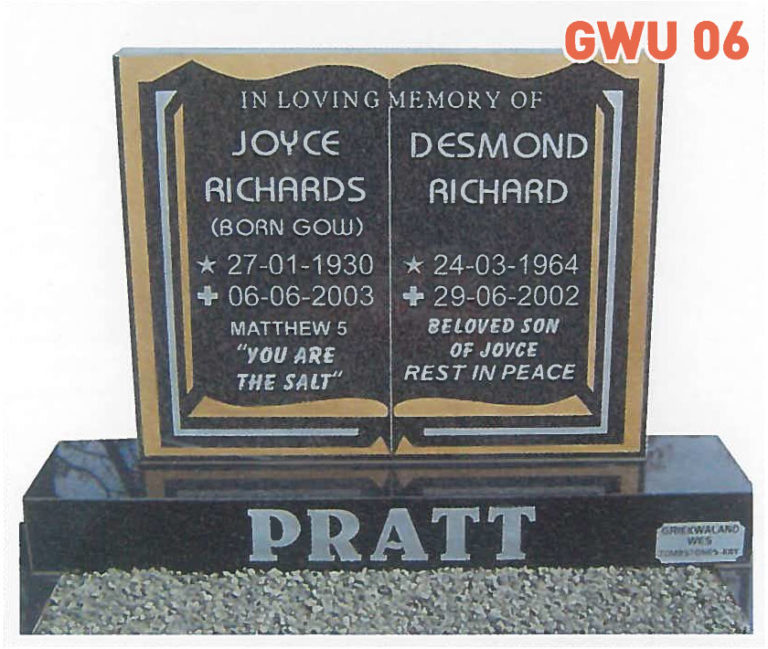 GWU 6 Tombstone   Jeudfra Funeral Services in Upington