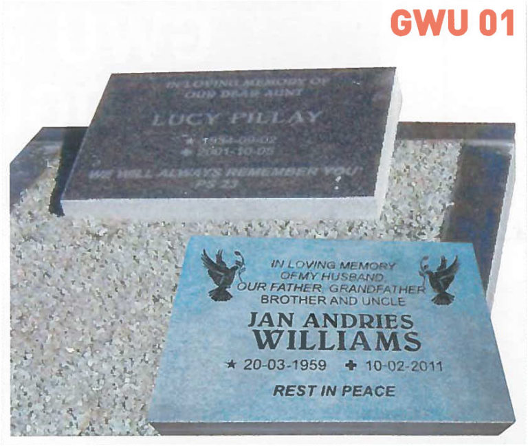 GWU 1 Tombstone | Jeudfra Funeral Services in Upington