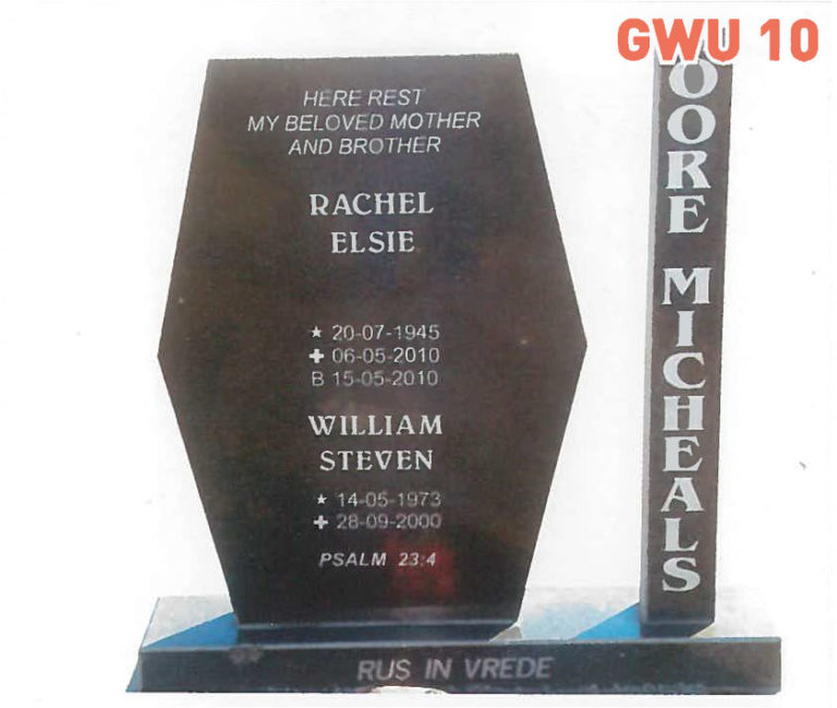 GWU 10 Tombstone | Jeudfra Funeral Services in Upington