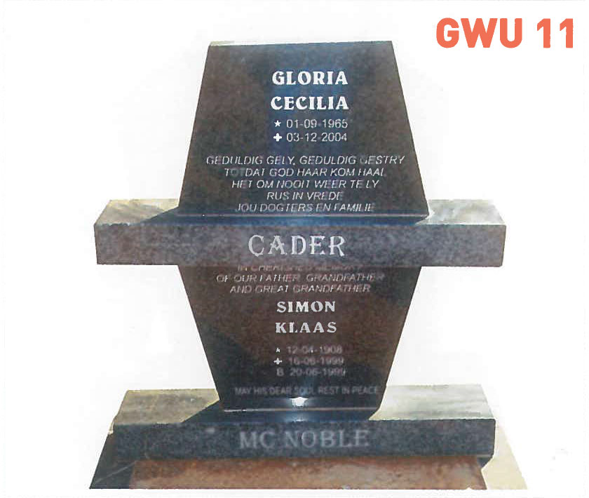 GWU 11 Tombstone | Jeudfra Funeral Services in Upington