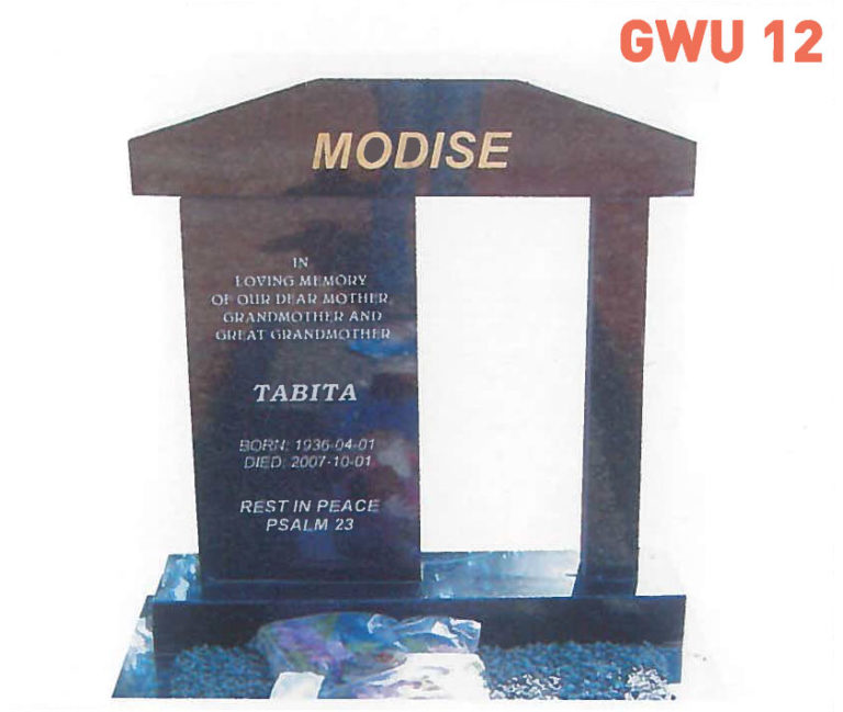 GWU 12 Tombstone | Jeudfra Funeral Services in Upington