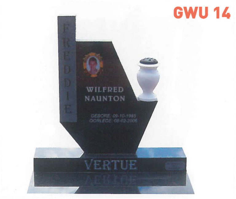 GWU 14 Tombstone | Jeudfra Funeral Services in Upington