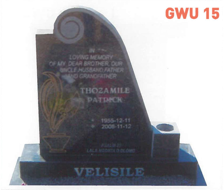 GWU 15 Tombstone | Jeudfra Funeral Services in Upington