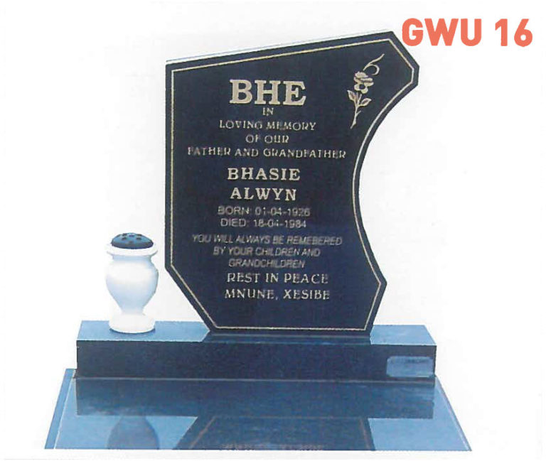 GWU 16 Tombstone | Jeudfra Funeral Services in Upington