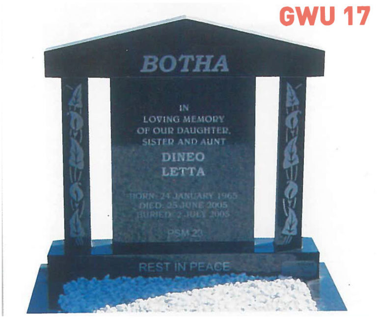 GWU 17 Tombstone | Jeudfra Funeral Services in Upington