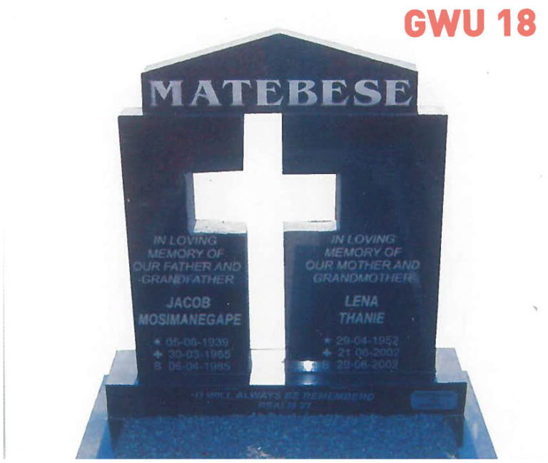 GWU 18 Tombstone | Jeudfra Funeral Services in Upington