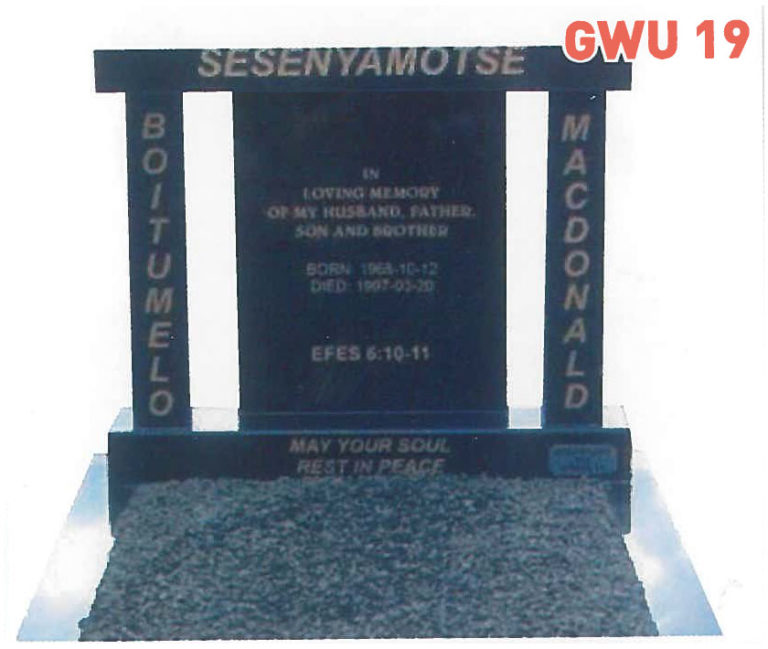 GWU 19 Tombstone | Jeudfra Funeral Services in Upington