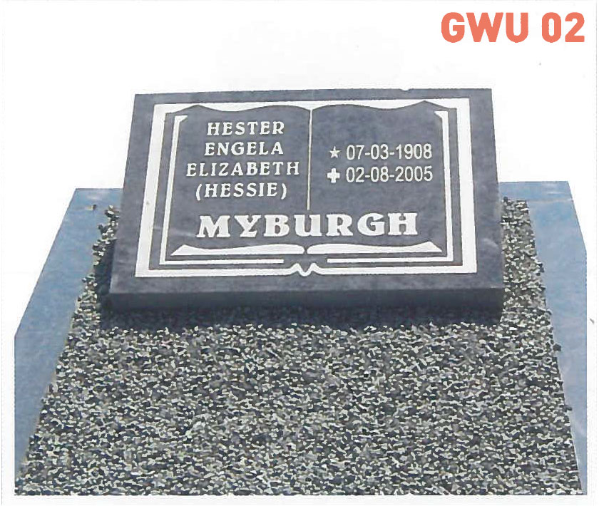 GWU 2 Tombstone | Jeudfra Funeral Services in Upington