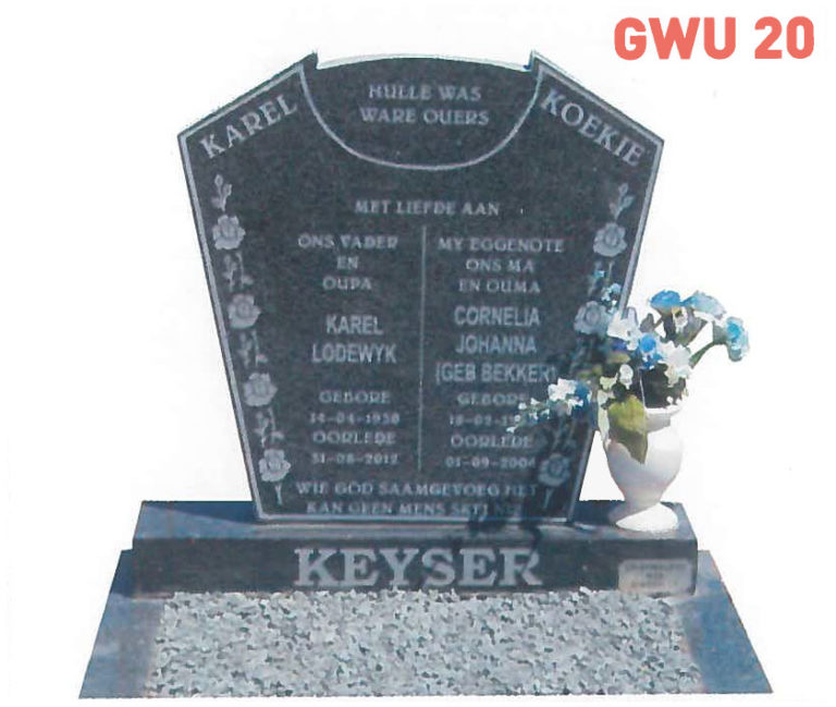 GWU 20 Tombstone | Jeudfra Funeral Services in Upington