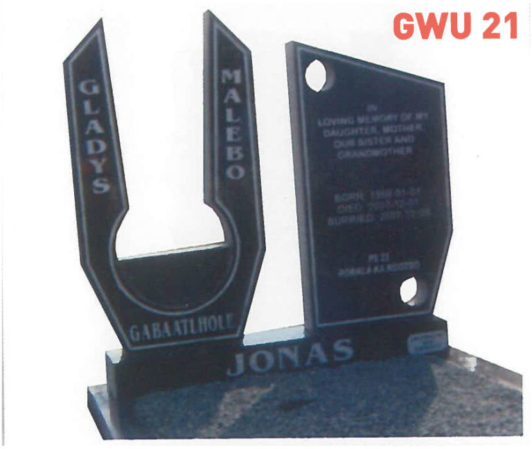 GWU 21 Tombstone | Jeudfra Funeral Services in Upington