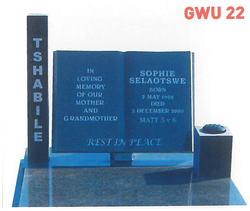 GWU 22 Tombstone | Jeudfra Funeral Services in Upington