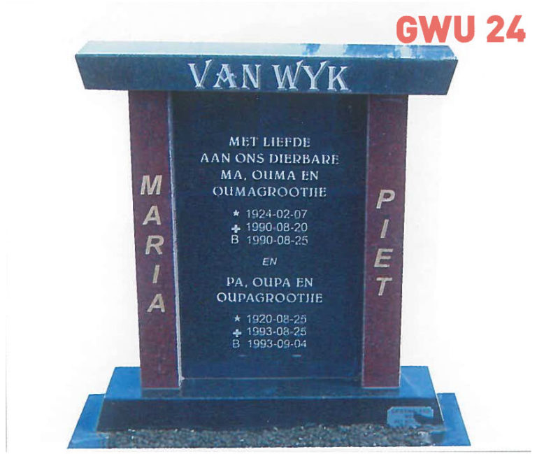 GWU 24 Tombstone | Jeudfra Funeral Services in Upington
