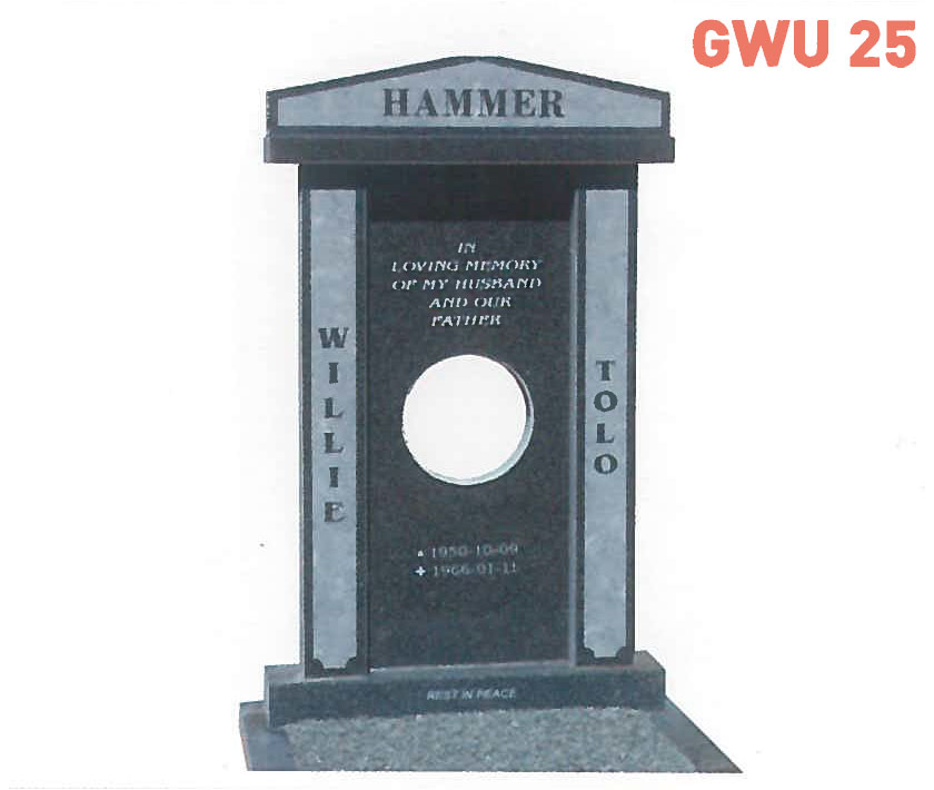 GWU 25 Tombstone | Jeudfra Funeral Services in Upington