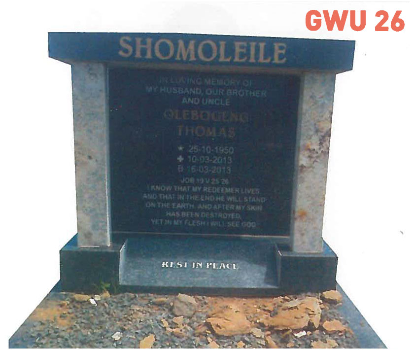 GWU 26 Tombstone | Jeudfra Funeral Services in Upington