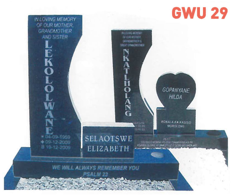 GWU 29 Tombstone | Jeudfra Funeral Services in Upington