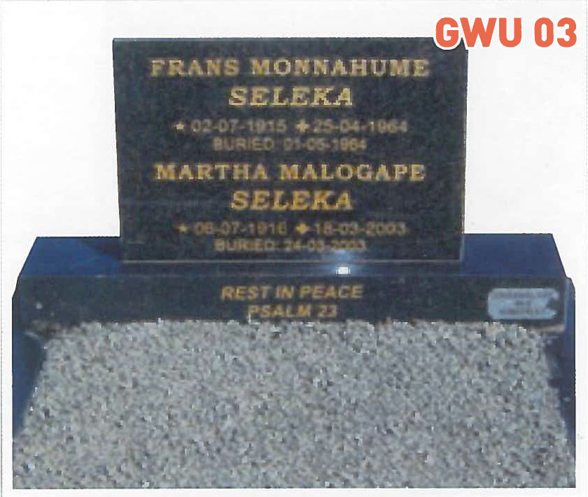 GWU 3 Tombstone | Jeudfra Funeral Services in Upington