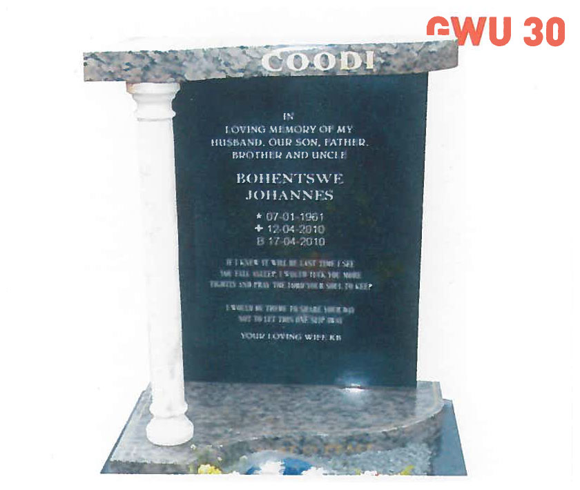 GWU 30 Tombstone | Jeudfra Funeral Services in Upington