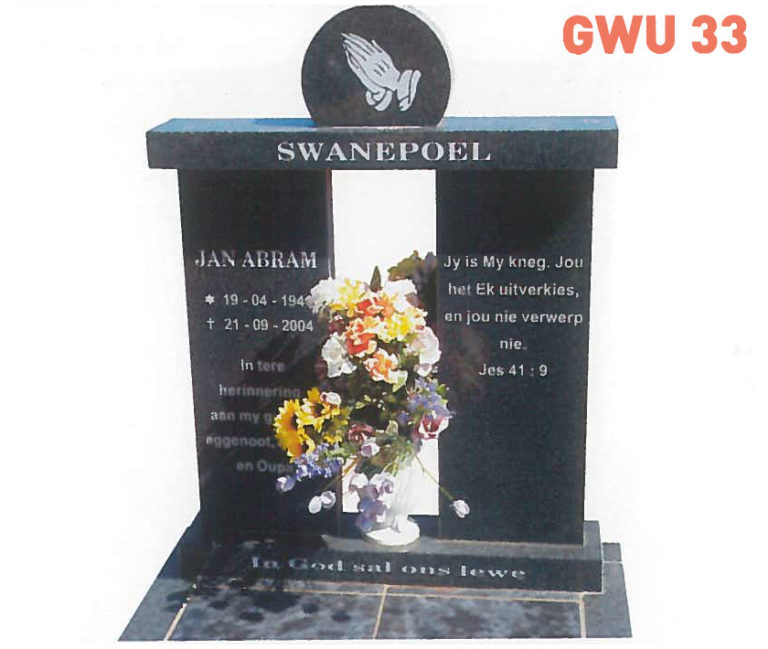 GWU 33 Tombstone | Jeudfra Funeral Services in Upington