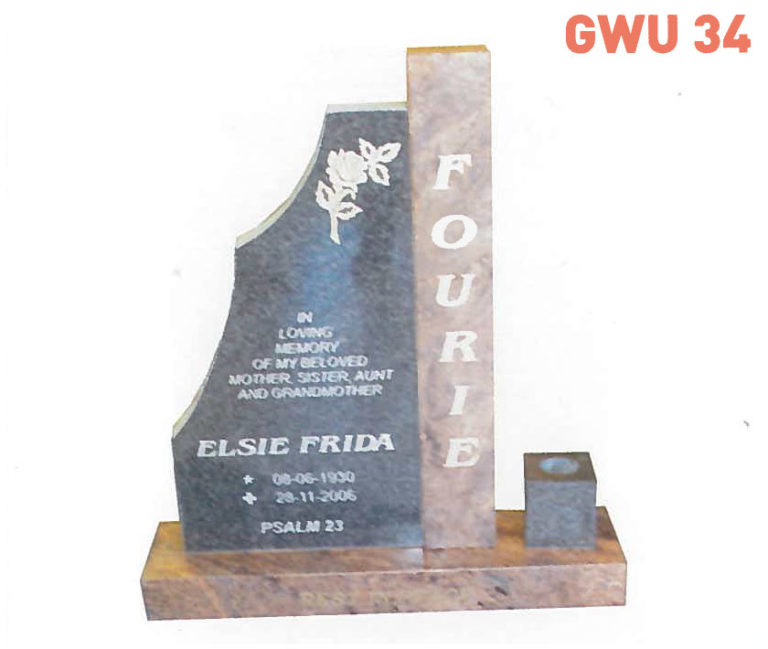 GWU 34 Tombstone | Jeudfra Funeral Services in Upington