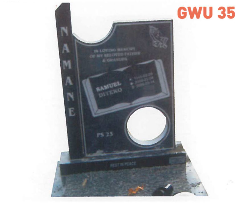 GWU 35 Tombstone | Jeudfra Funeral Services in Upington