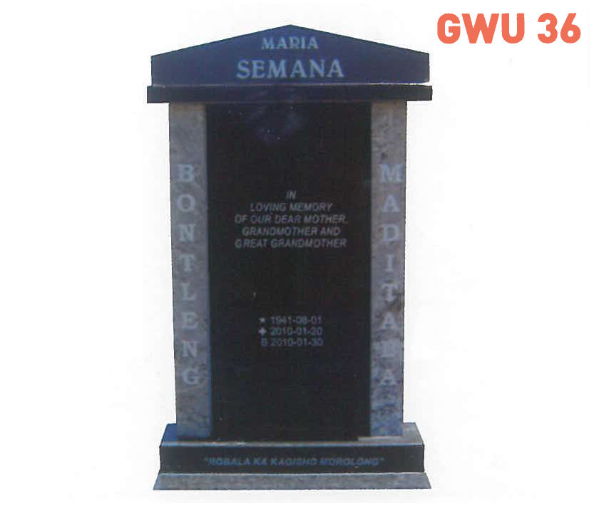 GWU 36 Tombstone | Jeudfra Funeral Services in Upington