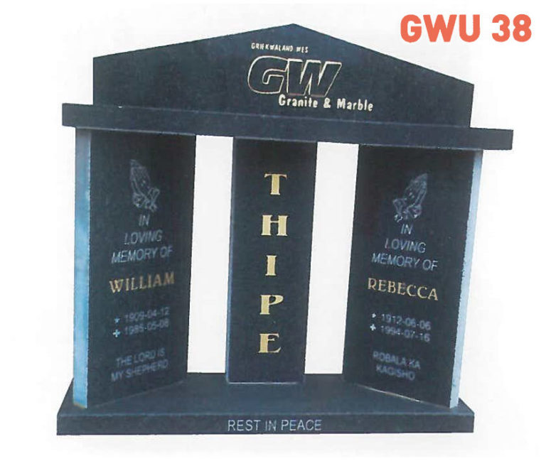 GWU 38 Tombstone | Jeudfra Funeral Services in Upington