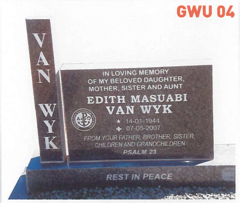 GWU 4 Tombstone | Jeudfra Funeral Services in Upington