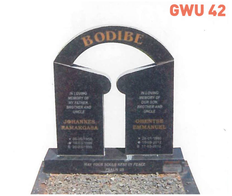 GWU 42 Tombstone | Jeudfra Funeral Services in Upington
