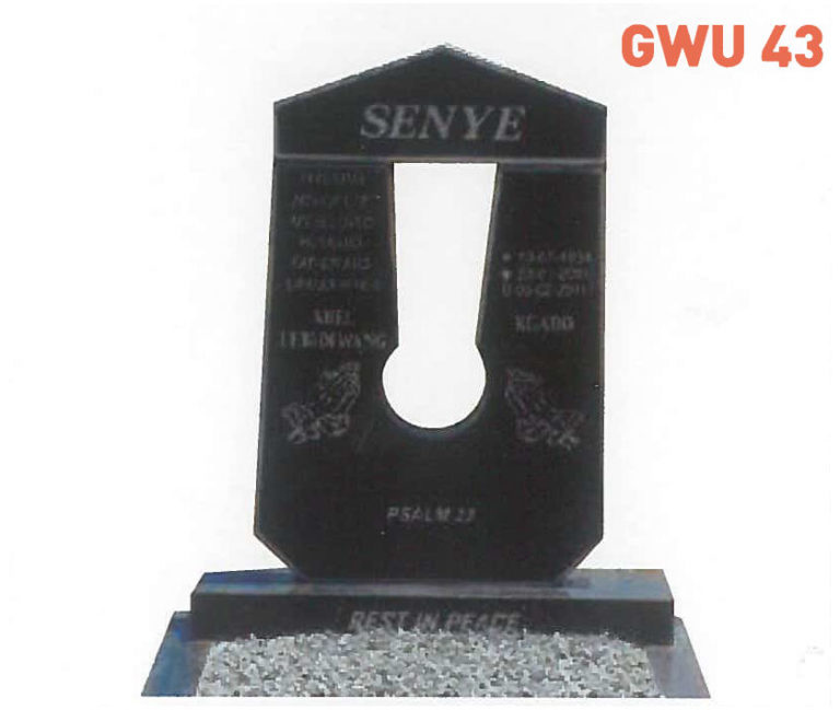 GWU 43 Tombstone | Jeudfra Funeral Services in Upington