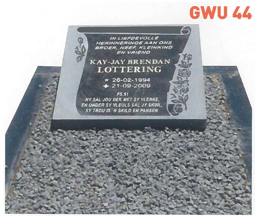 GWU 44 Tombstone | Jeudfra Funeral Services in Upington