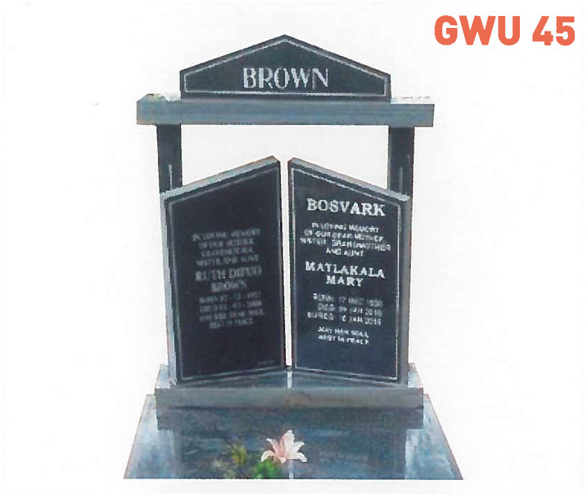 GWU 45 Tombstone | Jeudfra Funeral Services in Upington