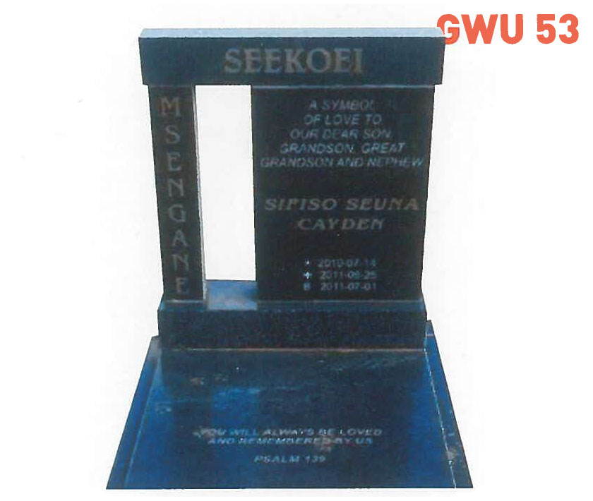 GWU 53 Tombstone | Jeudfra Funeral Services in Upington