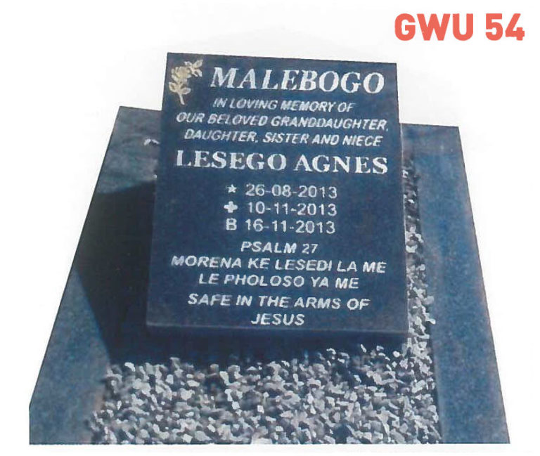GWU 54 Tombstone | Jeudfra Funeral Services in Upington