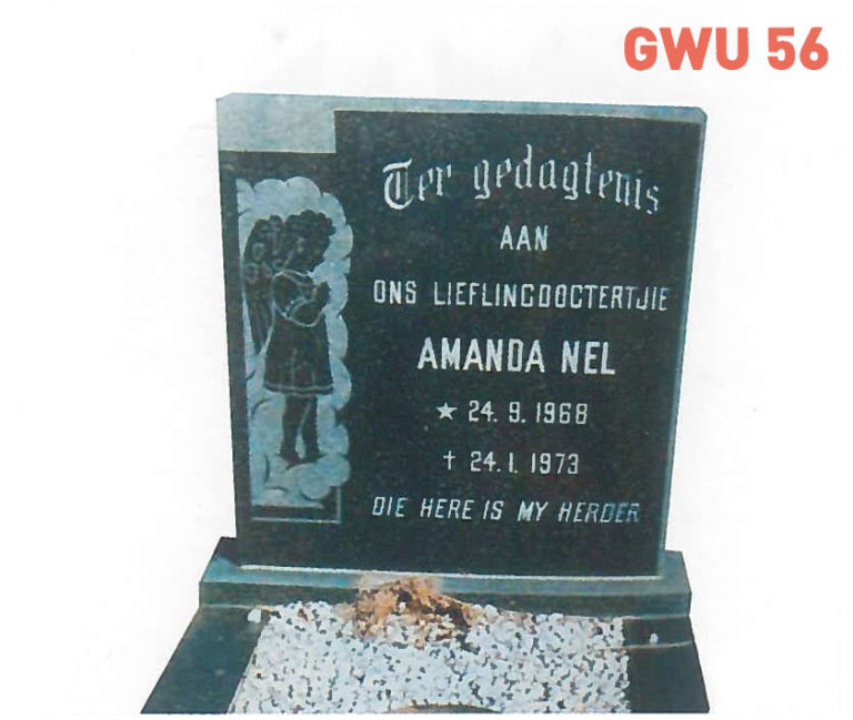 GWU 56 Tombstone | Jeudfra Funeral Services in Upington