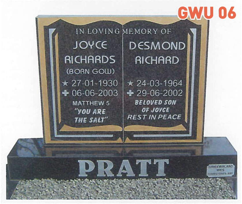 GWU 6 Tombstone | Jeudfra Funeral Services in Upington