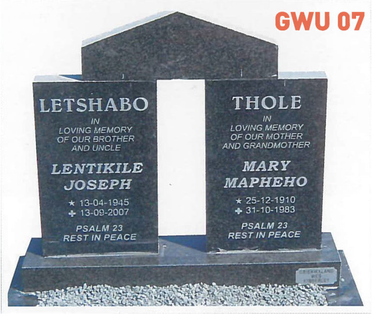 GWU 7 Tombstone | Jeudfra Funeral Services in Upington