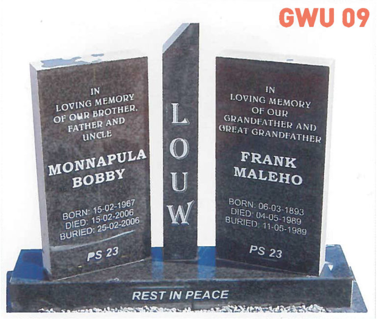 GWU 9 Tombstone | Jeudfra Funeral Services in Upington